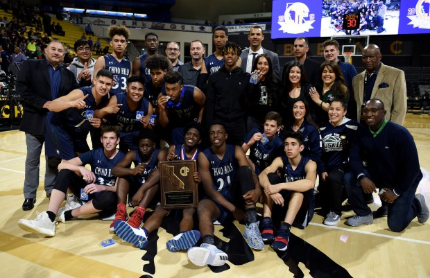 Chino Hills celebrates their win of the CIF Southern California Division I Regional playoffs at the Long Beach State Walter Pyramid on Saturday afternoon. Final score Chino Hills 67 St. John Bosco 51.Long Beach March 17, 2018. Photo by Brittany Murray, Press Telegram/SCNG