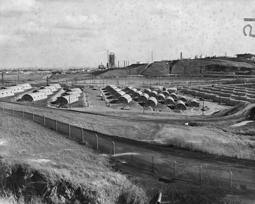 Panoramic view of the city of Quonset huts in San Pedro on Feb. 6, 1946. A project to relieve the postwar housing shortage, the huts housed 280 Navy families. Credit: Los Angeles Public Library