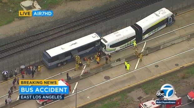 Two buses were involved in a crash around 11 a.m. Thursday, March 22, 2018, on the eastbound 10 Freeway near Soto Street in the Boyle Heights area. (Image from ABC7 video)