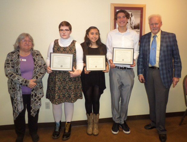 From left, Sharon Durbin, president of Hemet-San Jacinto Centennial Lions Club; student speakers Jayde Farmer, Amy Navarro and Justin Laskowski; Rich Mumm, Student Speaker Contest chairman. (Courtesy Photo)