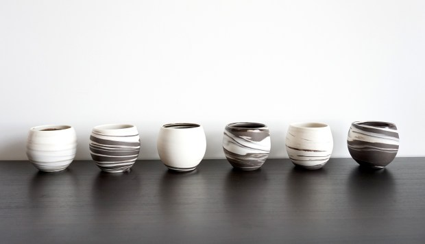 Ceramic artist Amanda Tong brings the philosophy of yin and yang to her work, such as through her mix of black and white clay in these teacups. (Photo by Amanda Tong).