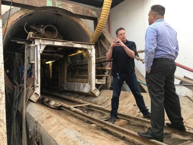 Elon Musk and Hawthorne Mayor Alex Vargas inside of The Boring Co. tunnel entrance at the company's initial tunnel project, in Hawthorne. (Photo courtesy Alex Vargas)