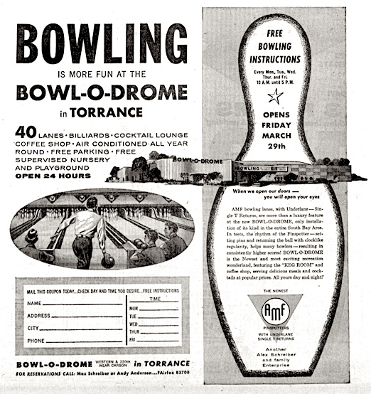 Display ad touts the new bowling center in Torrance. Torrance Press, March 21, 1957, Page 25. (Credit: Torrance Historical Newspaper and Directories Archive database, Torrance Public Library).
