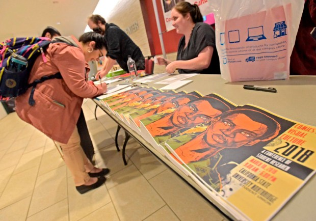 Attendees of the Comics and Visual Culture 2018 symposium sign in at Cal State Northridge on March 10. (Photo by Dan Watson / SCNG)