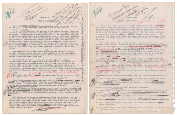 "This image released by Calabasas auction house Profiles in History shows two pages from the original 1939 Alcoholics Anonymous manuscript describing the ""Twelve Step"" program of recovery from alcoholism. The manuscript is to be sold at auction on June 8, 2018. (Profiles in History via AP)"