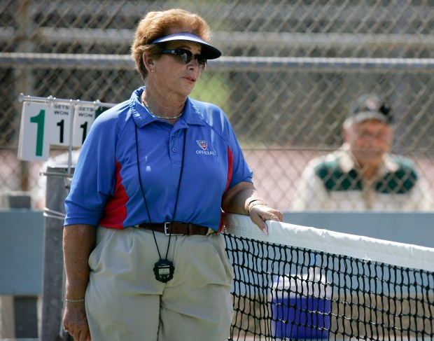 This 2008 photo shows tennis referee Lois Goodman of Woodland Hills officiating a CIF tennis tournament in California. Goodman, arrested before a U.S. Open match and accused of beating her husband to death with a coffee mug before the charges were dropped, said in an interview Friday, March 9, 2018, that he may have died after tripping over their (Photo by David Crane/Los Angeles Daily News)