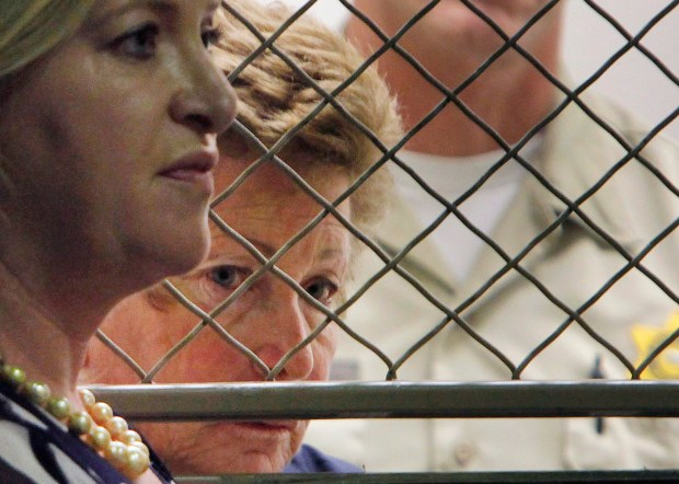 Lois Goodman, right, is seen with her attorney, Allison Triessl, on Aug. 24, 2012, during Goodman's arraignment on murder charges in Los Angeles. (AP Photo/Nick Ut, File)