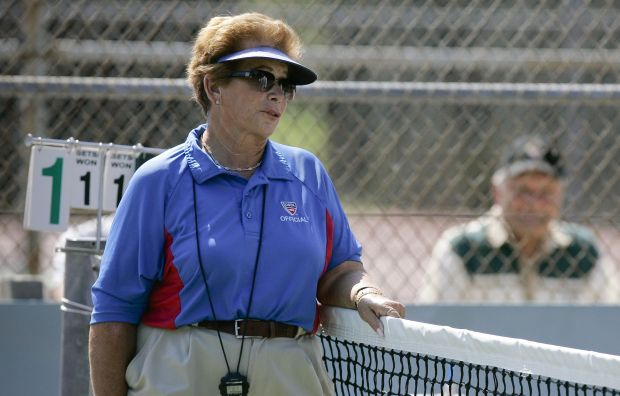 Woodland Hills tennis umpire Lois Goodman, who was arrested before a U.S. Open match and charged in her elderly husband's 2012 death, is trying to clear her name. Her attorneys are expected to tell jurors Wednesday, March 21, 2018, in federal court that the Los Angeles coroner's office deprived her civil rights by falsifying an autopsy report. (2008 photo by David Crane /Los Angeles Daily News)