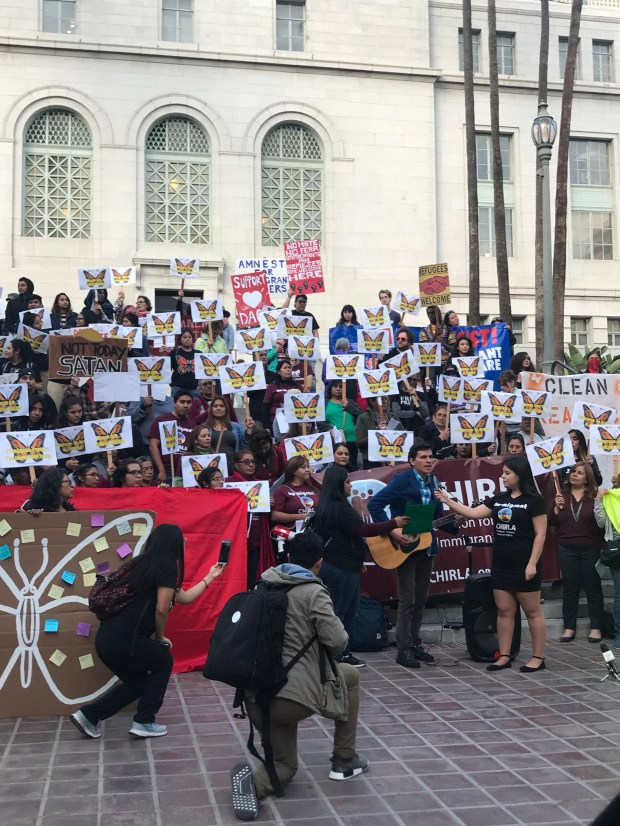 More than 75 CHIRLA members rallied in support of DACA outside Los Angeles City Hall on Monday, March 5. (Photo courtesy of Coalition for Humane Immigrant Rights of Los Angeles.)