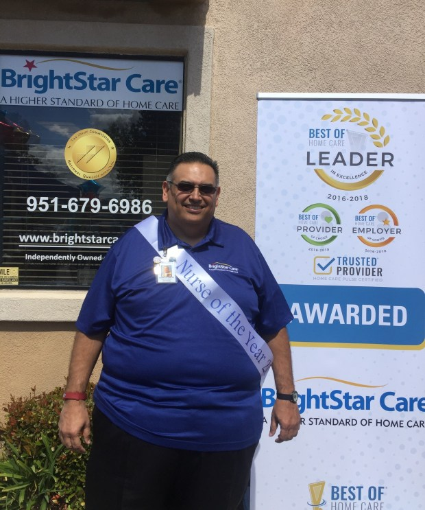 Carl Brown received BrightStar Care's Nurse of the Year Award for the Western Region. Photo courtesy of BrightStar Care