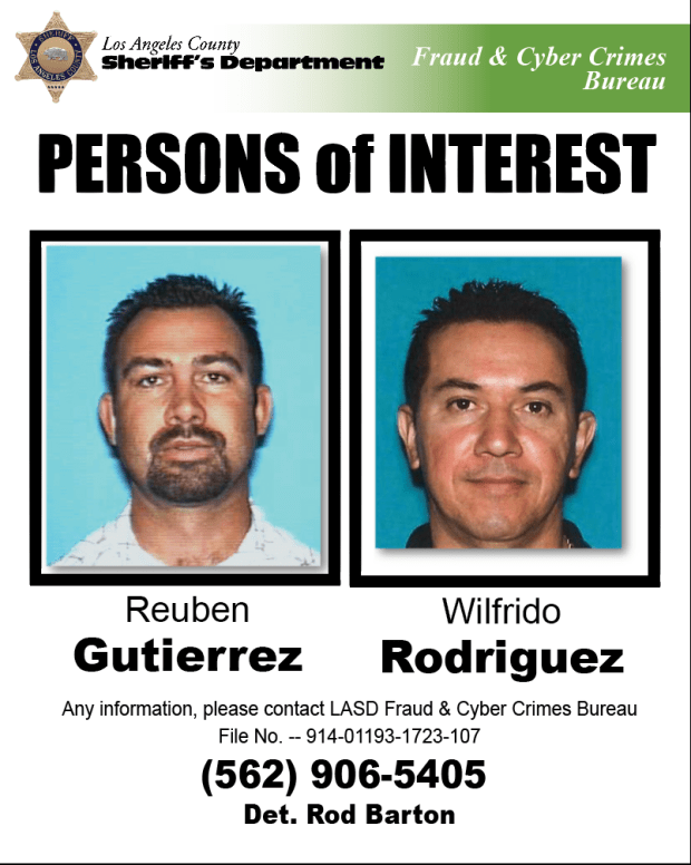Wilfrido Rodriguez and Ruben Gutierrez face charges of identity theft, grand theft and forgery.Photo courtesy Los Angeles County Sheriff's Department