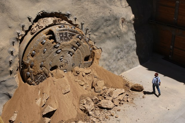 A 450-foot-long tunnel-boring machine breaks through from under the San Bernardino Mountains on Aug. 20, 2008, after drilling a 4-mile-long, 9-foot-diameter tunnel to improve the importation of water from Northern California. On Wednesday, March 21, 2018, the Los Angeles City Council agreed to oppose a new water tunnel project if it would mean greater costs for LA ratepayers. (Photo by David McNew/Getty Images)