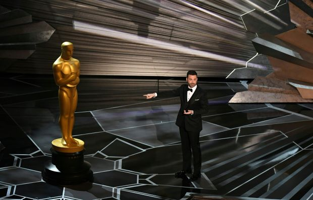 Comedian Jimmy Kimmel delivers a speech during the opening of the 90th Annual Academy Awards show on March 4, 2018 in Hollywood, California. / AFP PHOTO / Mark RALSTON (Photo credit should read MARK RALSTON/AFP/Getty Images)