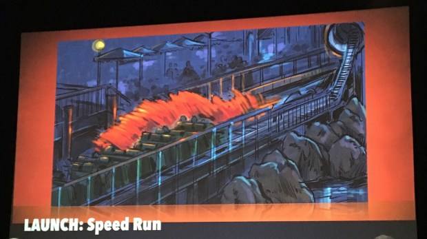 Artist rendering provided by Walt Disney Imagineering of the upcoming Incredicoaster ride in the new Pixar Pier development at Disney California Adventure in Anaheim, as of March 8, 2018. The pier is still under construction. Photo by Marla Jo Fisher, the Orange County Register, during a slide presentation at Walt Disney Imagineering in Glendale, CA.