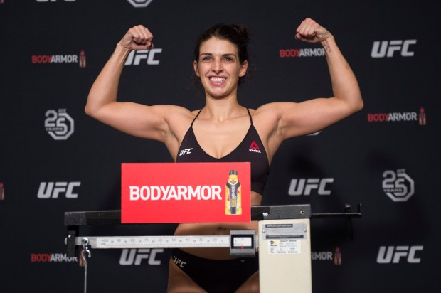 With 20 minutes to spare, Mackenzie Dern weighed 116 pounds during the official weigh-ins for UFC 222 in March. (Hans Gutknecht/SCNG)