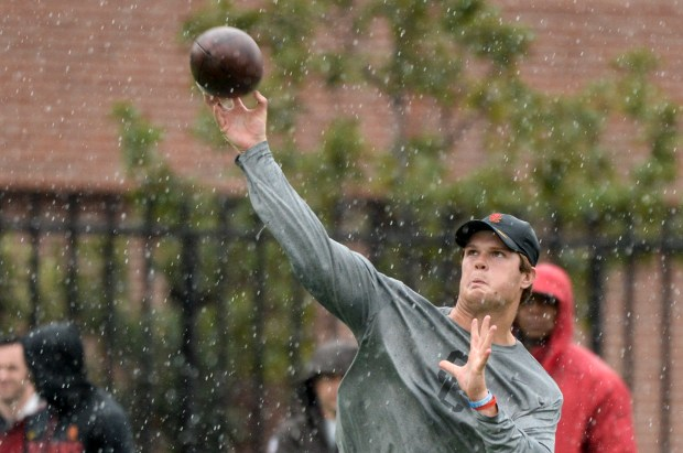USC's Sam Darnold works in the rain during Pro Day at USC Wednesday. ( Photo by David Crane, Los Angeles Daily News/SCNG)
