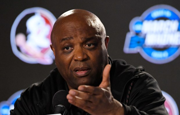 Florida State head coach Leonard Hamilton speaks during a news conference at the NCAA men's college basketball tournament, Wednesday, March 21, 2018, in Los Angeles. Florida State faces Gonzaga in a regional semifinal on Thursday. (AP Photo/Mark J. Terrill)