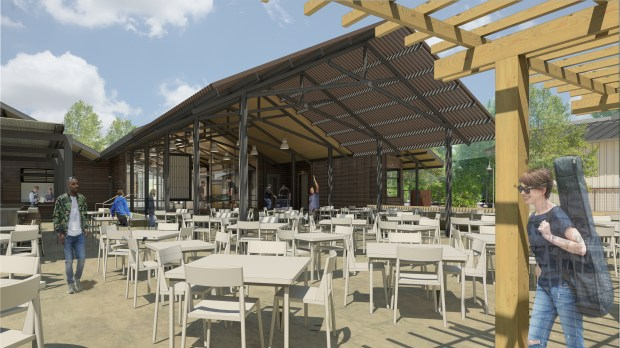 An artist's rendering of the proposed faculty-staff dining building and new outdoor concert venue. (Photo courtesy of UC Riverside)