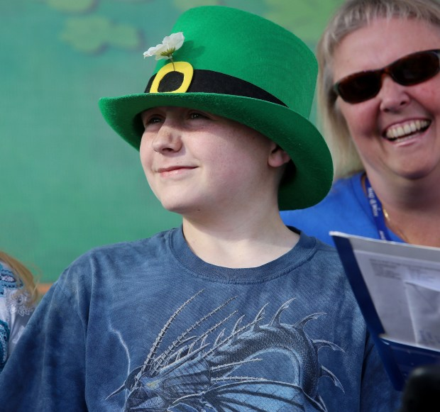 Dallas Kilcoyne, 14, is surprised with the news from Make-A-Wish that his wish to go to Ireland will be coming true during The 2018 California Irish Festival at the Lake Perris Fairgrounds on Sunday, March 11. Photo by Frank Bellino, contributing photographer
