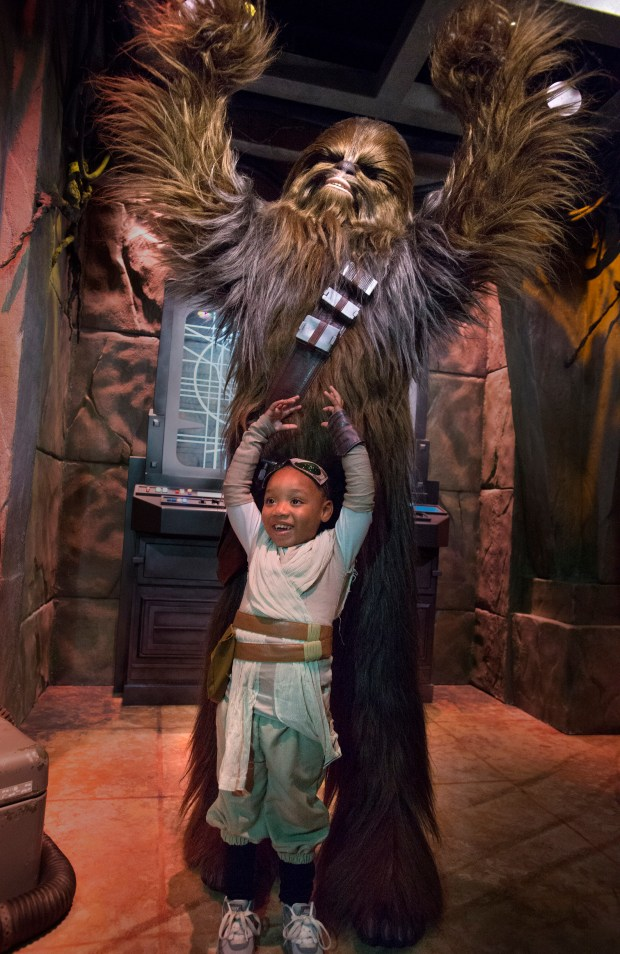Kya Box, 4, of Hawaiian Gardens poses with Chewy. People wanted to give the furry creature a hug during The Star Wars Season of the Force which debuted Monday at the Anaheim park. She is dressed as Rey from Star Wars: The Force Awakens. ///ADDITIONAL INFORMATION: Disney.SuperHeroHQ.cy Ð 11/16/15 Ð CINDY YAMANAKA, ORANGE COUNTY REGISTER ANAHEIM Ð Getting reactions from Disneyland's Star Wars overlay Season of the Force debuts and Disney will unveil Super Hero HQ and Spider Man meet and greet.MarvelÕs most popular super hero, Spider-Man, is coming to Disneyland. Disneyland officials announced Tuesday that guests will be able to rub elbows and talk with the web-slinging, friendly neighborhood Spider-Man in a meet-and-greet inside the Super Hero HQ in the building once known as Innoventions.