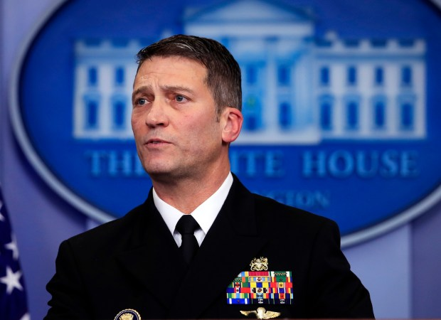 In this Jan. 16, 2018 file photo, White House physician Dr. Ronny Jackson speaks to reporters during the daily press briefing in the Brady press briefing room at the White House in Washington. On Wednesday, March 28, 2018, President Donald Trump fired Veterans Affairs Secretary David Shulkin, and tweeted that Jackson is his nominee to replace Shulkin. (AP Photo/Manuel Balce Ceneta)