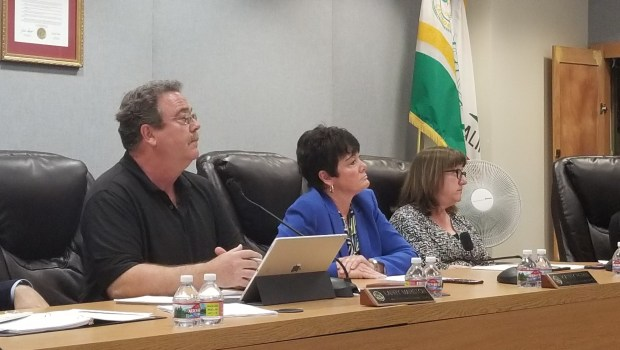 Locals voiced their support for Temple City Unified School District Superintendent Kathy Perini, center, at a special meeting Friday. The district Board of Education decided March 21 not to renew Perini's contract for the 2018-19 school year. (Photo by Christopher Yee, San Gabriel Valley Tribune/SCNG)