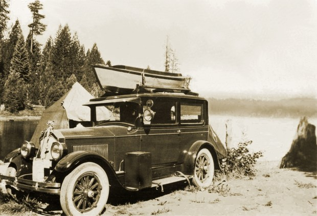 Photo from the collection of Russ KellerFisherman's car and boat at the fishing resort at Lake Arrowhead, circa 1923. The resort included tent camping sites that were located directly on the shoreline.