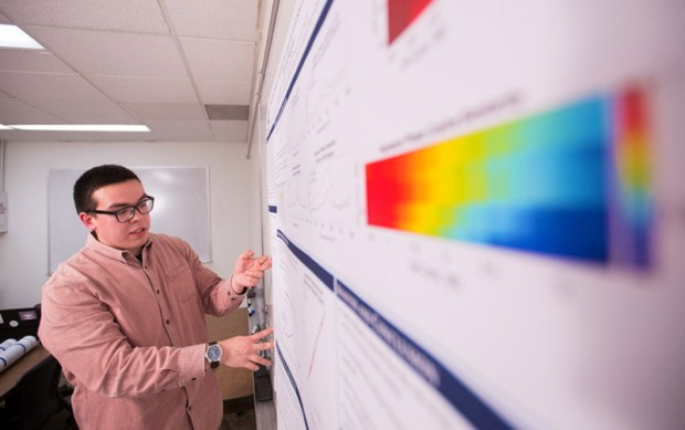 Cal State Fullerton student Cameron Hooper is combining his love of math and chemistry in a research project focusing on the effects of aerosol particles. (Photo courtesy of Cal State Fullerton)
