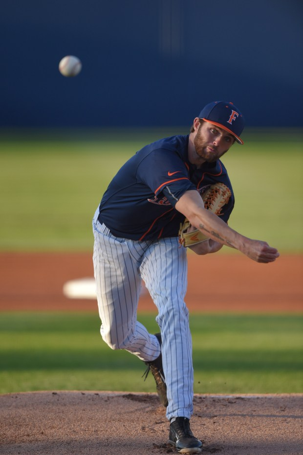 Cal State Fullerton's Colton Eastman pitches against Long Beach State in Fullerton on May 27, 2017.Photo courtesy Matt Brown/Cal State Fullerton Athletics