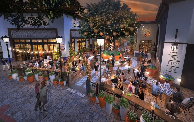 Bella Terra shopping center in Huntington Beach will undergo renovations slated for completion in November of 2018. (Artist rendering courtesy of DJM Capital Partners)
