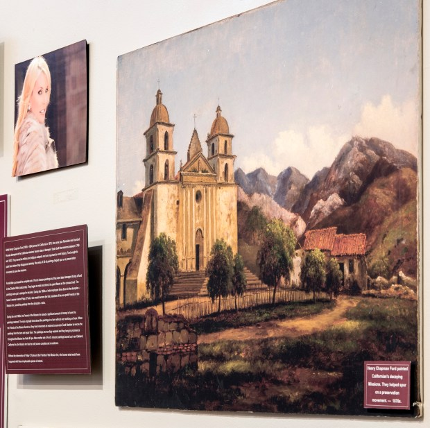 This Harry Chapman Ford painting of a decaying mission is part of Patsy O'Toole's collection. The Women of the Mission Inn exhibit runs March 23 through August 31, 2018. Photographed April 13, 2018 at the museum which shares the property of the landmark Riverside, Calif. hotel. O'Toole is not pictured. (Photo by Cindy Yamanaka, The Press-Enterprise/SCNG)