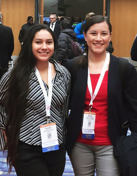 Cal State Fullerton civil engineering graduate students Rosalie Chavez, left, and Shelley Rodriguez were awarded Eisenhower transportation fellowships. (Photo courtesy of Cal State Fullerton)