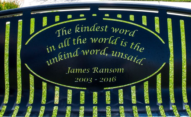 A quote on the bench in Poet's Park in Ladera Ranch dedicated to James Ransom. (Photo by Mark Rightmire, Orange County Register/SCNG)