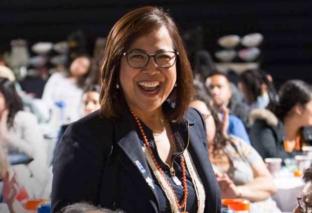 Pauline Tagle, director of Cal State Fullerton's Office of Grants and Contracts, was honored with the university's Leadership Award on April 19. (Photo courtesy of Cal State Fullerton)