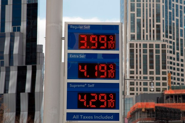 FILE- In this April 18, 2018, file photo, gas prices are displayed at a Mobil station in New York. Crude oil prices are at the highest level in more than three years and expected to climb higher, pushing up gasoline prices along the way. (AP Photo/Mark Lennihan, File)