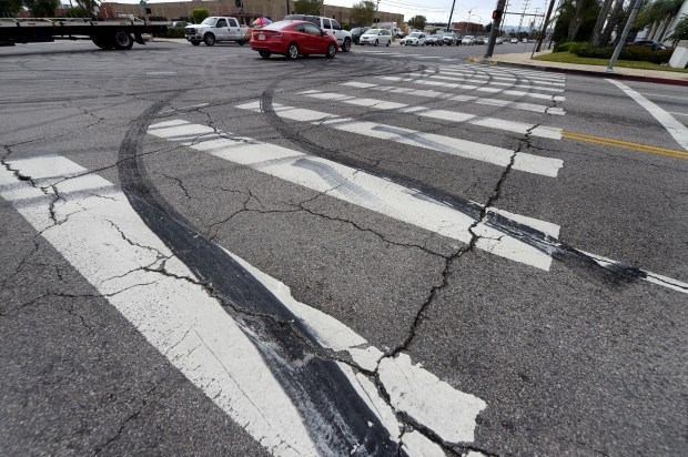 The intersection of Mason Ave. and Plummer St. in Chatsworth, CA on Monday, April 30, 2018. Over the weekend, drivers reportedly blocked off the intersection to do donuts with their cars. (Photo by Dean Musgrove, Los Angeles Daily News/SCNG)