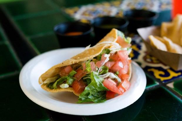 Crispy chicken taco at Taqueros in San Juan Capistrano. (Photo by Brad A. Johnson, Orange County Register/SCNG)