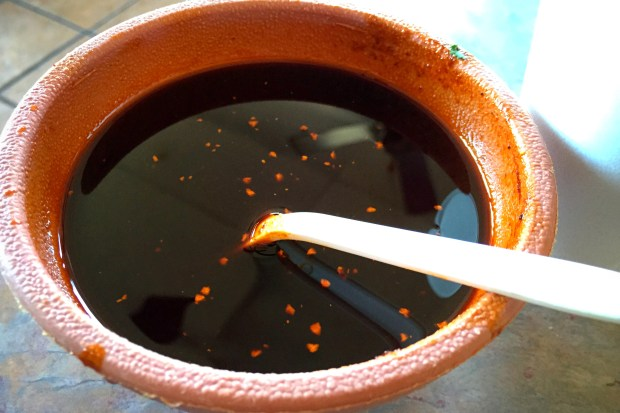 Salsa negra at Tacos y Birria el Guero in Santa Ana (Photo by Brad A. Johnson, Orange County Register/SCNG)