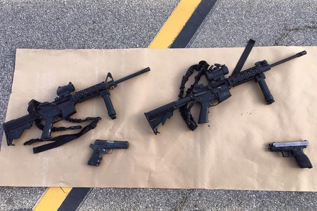 "The San Bernardino County Sheriff's Department released crime scene photos Thursday December 3, 2015 from Wednesday's deadly shooting via social media, ""Photos from the scene of the officer involved shooting. Weapons & ammunition carried by the suspects."" (Courtesy photos)"