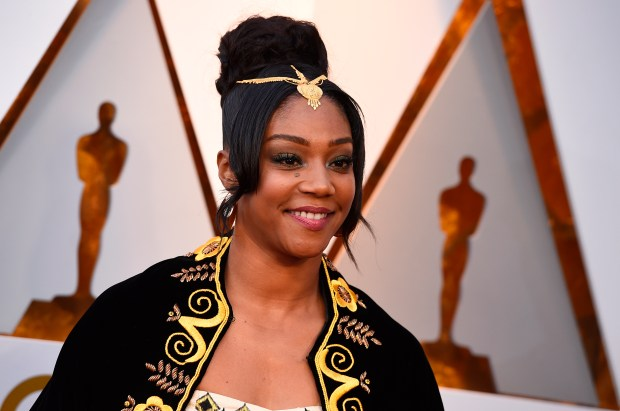"""In """"The Last O.G.,"""" Tiffany Haddish plays Tracy Morgan's ex-girlfriend who's built a successful new life during his 15 years away. The TBS movie debuts at 10:30 p.m. (PT and ET) Tuesday, April 3, 2018. (Photo by Jordan Strauss/Invision/AP, File)"""