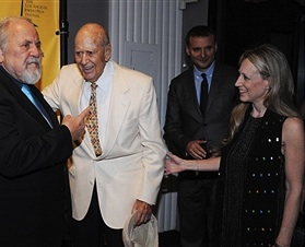 Hollywood legends George Schlatter, Carl Reiner and Phil Rosenthal with Jewish Film Festival co-founder Hilary Helstein.