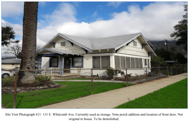 This home at 131 E. Whitcomb Ave. in Glendora is proposed to be razed to make way for the expansion of Glendora Cornerstone Bible Church. The church owns the property. (Courtesy the city of Glendora)