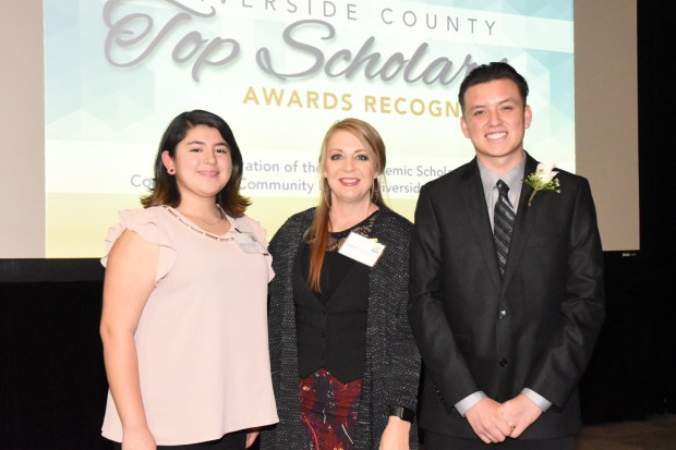 Honoree Sabrina Sanchez, Principal Bobbi Burnett and honoree Jacob Rico, all from Beaumont's Glen View High School, attended the 2018 Riverside County Top Scholars dinner on Monday, April 9. Rico spoke at the event. Photo courtesy of Riverside County Office of Education