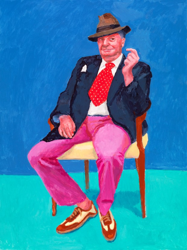 "Barry Humphries' image is featured in ""82 Portraits and 1 Still-life"" at the Los Angeles County Museum of Art from April 15 through July 29. (Courtesy of the artist David Hockney, photo by Richard Schmidt)"