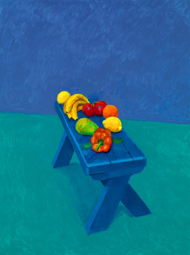 "This is the only still-life featured in ""82 Portraits and 1 Still-life"" at LACMA. (Courtesy of the artist David Hockney, photo by Richard Schmidt)"
