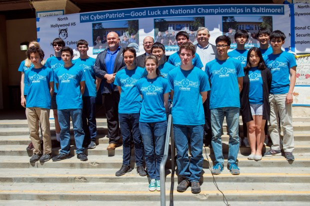 A rally was held on the campus of North Hollywood High School to celebrate three CyberPatriot teams from the school that beat out 5446 other teams nationwide to compete in the finals of the The National Student Cyber Defense Competition April 16-19 in Baltimore. (Photo by Hans Gutknecht, Los Angeles Daily News/SCNG)