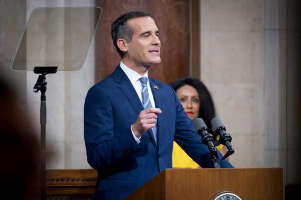 "Los Angeles Mayor Eric Garcetti delivers his State of the City address Monday at Los Angeles City Hall. As the homeless woke up on Main Street across from City Hall the mayor announced that ""it is time for the tents to come down,"" and ""everybody will get the help that they need."" (Photo by David Crane, Los Angeles Daily News/SCNG)"