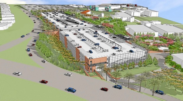 An artist's rendering shows what the five-story parking structure will look like that is being proposed for Mt. SAC near Mountaineer Road in Walnut. (Image courtesy of Mt. SAC)