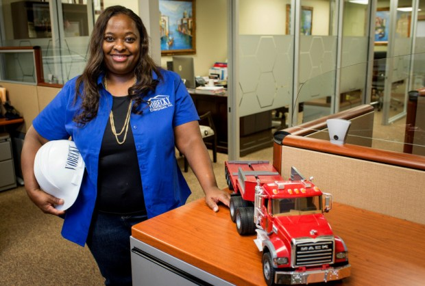 Bianca Vobecky, president and CEO of Vobecky Enterprises, Inc., who poses on Monday, Jan. 8 2018, started her construction and trucking business in Glendora with trucking in 2006. California is ranked as the fourth best state for women-owned enterprises. (Photo by Sarah Reingewirtz, Pasadena Star-News/SCNG)