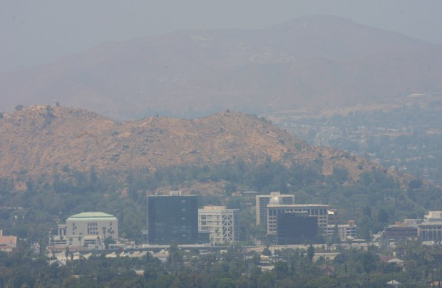 The skyline of Riverside, on a smoggy day, as seen from Sycamore Highlands Park in Riverside in 2016. (Photo by KURT MILLER/THE PRESS-ENTERPRISE, SCNG)